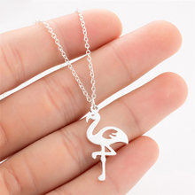 36PC Stainless Steel Flamingo Pendant Necklace Romantic Gift For Women Girls Wedding Jewelry Accessories Silver Color Choker Hot(China)