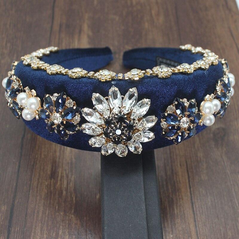 Luxo barroco rainha real rei pérola nupcial flanela tiaras casamento acessórios para o cabelo strass diadem baile de formatura coroas pageant