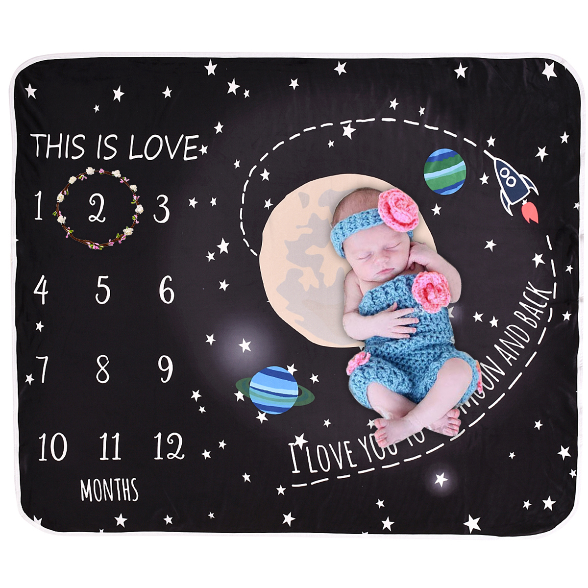 Puseky Popular Trends Organic Muslin Cotton Blanket Monthly Star Patterned Baby Milestone Blanket 120*110cm