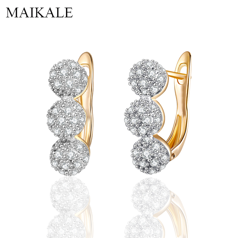MAIKALE New Fashion Cute Gold Round Earrings Micro Inlay Full Cubic Zirconia Stud Earrings for Women Jewelry Delicate Gifts