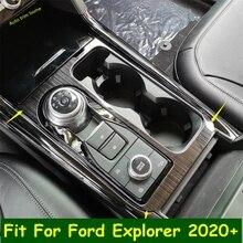 שחור/כסף התיכון בקרת הילוך משמרת תיבת מסגרת כיסוי Trim Fit עבור פורד Explorer 2020 2021 אביזרי שיפוץ פנים ערכת