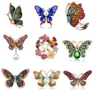 31 Styles Butterfly Brooch for Women Men Rhinestone Enamel Insects Brooches Fashion Corsage Animal Badges Jewelry Dropshipping