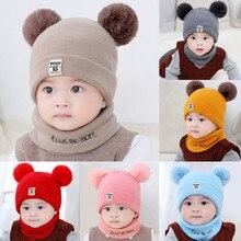 Шапка для новорожденного ребенка, шапка с помпоном для маленьких мальчиков и девочек, зимняя теплая вязаная шапочка, набор из шапки и шарфа, вязаная шерстяная шапка с помпоном для детей 0-12 месяцев, C800