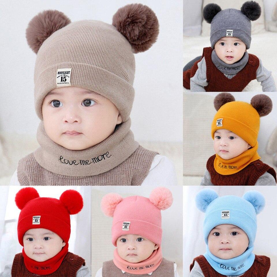 Scarf Set Winter Warm Knitted Bobble Cap Newborn Kid Baby Boy Girl Pom Hat