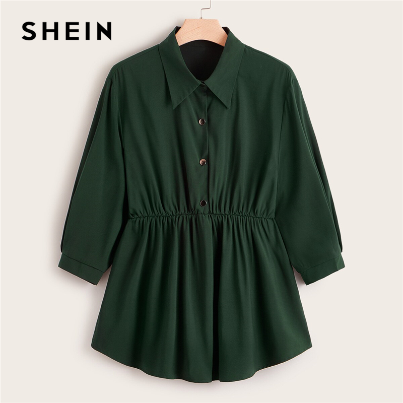 SHEIN Plus Size Abaya Green Button Front Smock Peplum Long Blouse Top Women Spring Autumn Flared Hem Casual Solid Plus Blouses