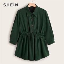 SHEIN de talla grande Abaya botón verde frontal Smock Peplum blusa larga Top mujer primavera otoño acampanado dobladillo Casual sólido Plus blusas