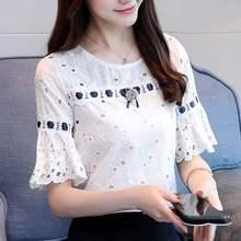 Womens Summer 2019 Autumn New Fashion Lace Cotton Short Sleeve Blouses Shirt Chiffon Women Tops White Feminine Floral 81i3