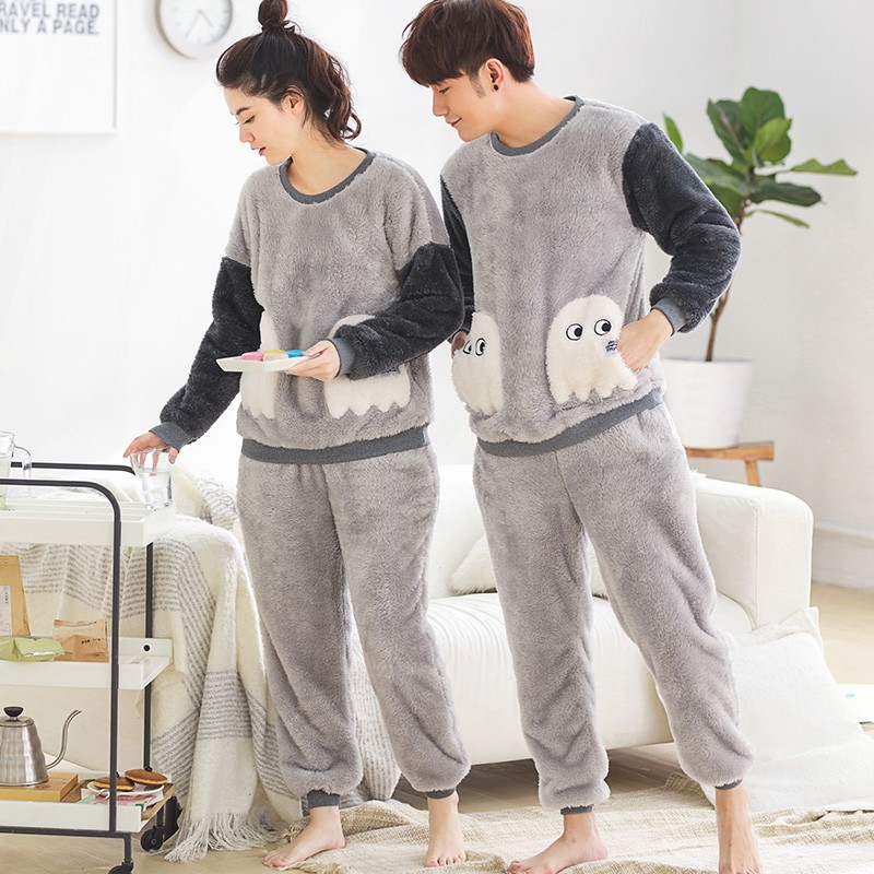 JRMISSLI Big Size Couples Flannel Pajamas Sets Men Women Sleepwear Cartoon Sleepwear Nightshirt Lovers Homewear