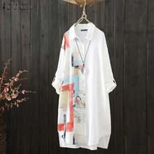 Zanzea 2021 Voorjaar Vrouwen Stiching Blouse Kaftan Bloemen Shirts Met Lange Mouwen Blusas Vrouwelijke Button Down Casual Tuniek Plus Size