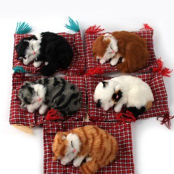 Car Ornaments Cute Simulation Sleeping Cat Home Car Decoration Stuffed Toys Lovely Simulation Plush Sleeping Cats Toy Decoration image