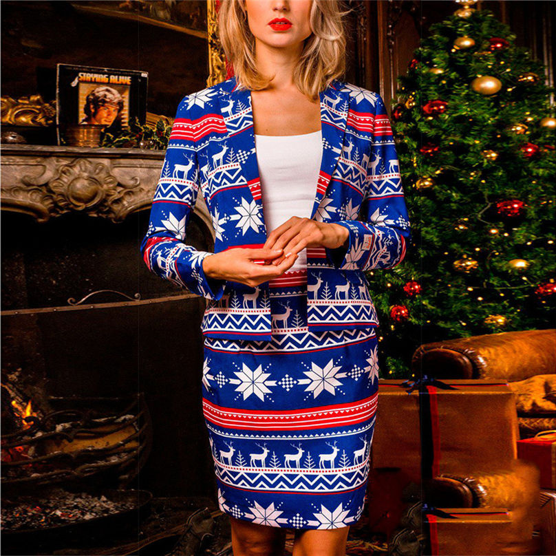 2PC Christmas Women's Autumn And Winter Set Long Sleeve Christmas Fashion Suit Coat + Mini Skirt Suit Women Sets 4O21