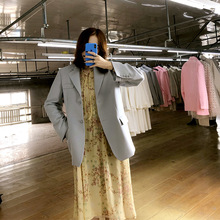 Fall 2019 New Suit Loose Korean Version Leisure Coat Women Overcoat Notched  Casual Single Breasted Full