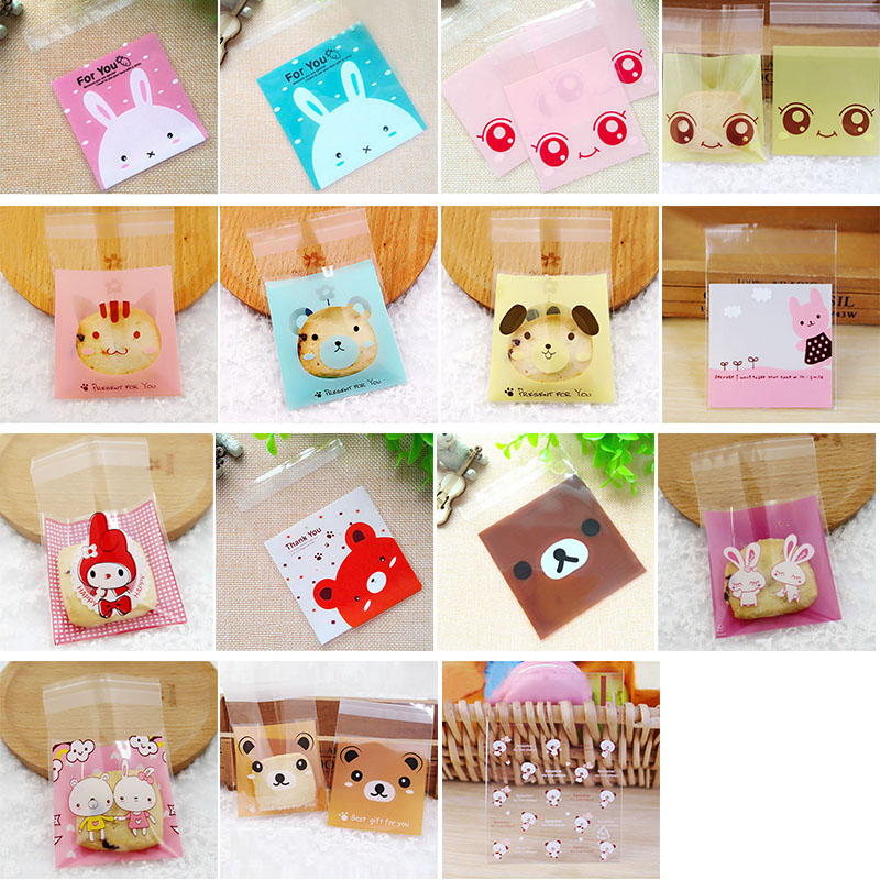 50pcs Cute Cartoon Animals Self Adhesive Bag Wedding Birthday Party Favors Cookie Gifts Packaging Small Plastic Candy Bags 7*7cm