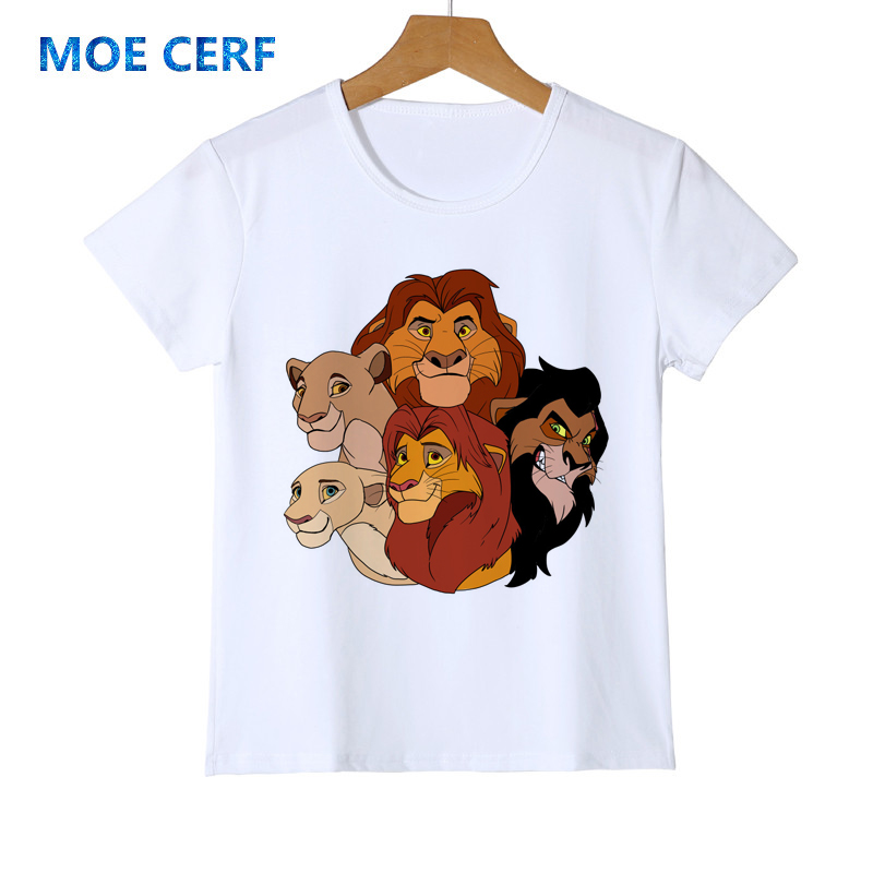 Kids T-Shirt Tops Red Baby Simba Drawing Unisex Youths Short Sleeve T-Shirt