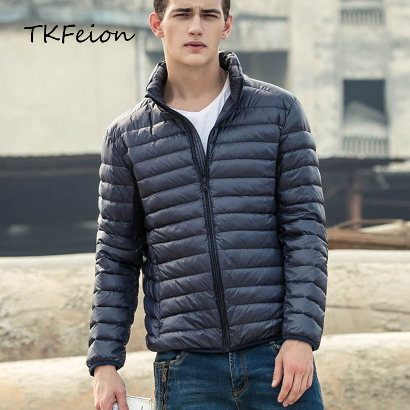 Spring/Autumn <font><b>Mens</b></font> <font><b>Basic</b></font> <font><b>Jacket</b></font> Duck Down Filler Fashion Light Thin Stand Collar Plus Size:3XL-7XL Male Slim Coat Factory Outlet image