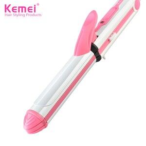 Image 2 - Kemei 3 で 1 髪ストレイテナー毛ヘアアイロン多機能段ボールフラットアイアンコーンプレート加熱されたローラー髪型ツール 40D