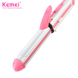 Image 2 - Kemei 3 In 1 Hair Straightener Hair Curling Iron Multifunction Corrugated Flat Iron Corn Plate Heated Roller Hairstyle Tools 40D