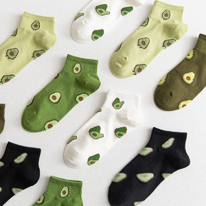 Jeseca Embroidery Avocado Print Women's Socks Solid Casual Cotton Short Socks for Women Black White Sock Slippers No Show Sock