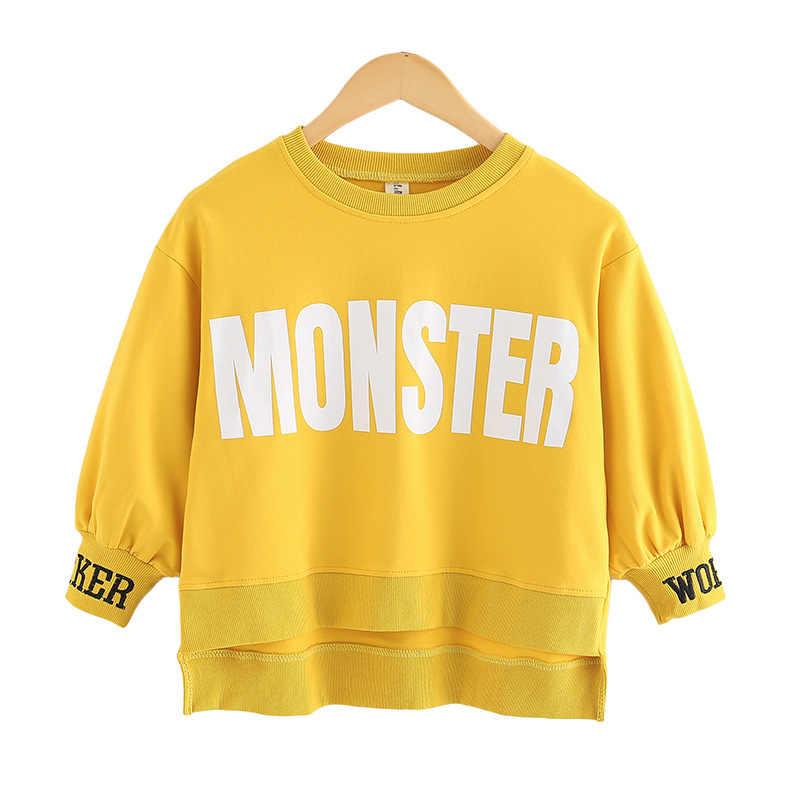 2020 novas meninas do bebê moletom crianças camisas de outono bebê da criança superior crianças carta de algodão moletom roupas adolescentes, #3658