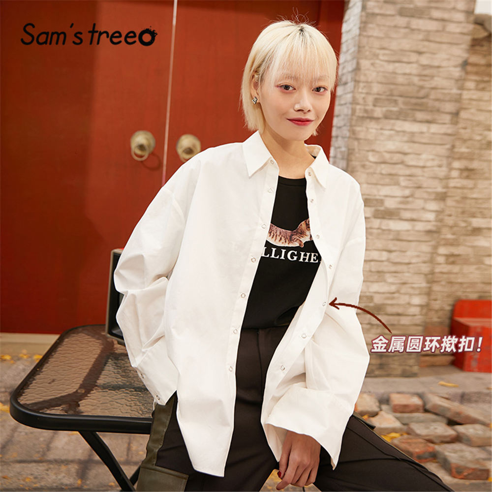 SAM'S TREE White Solid Minimalist Style Shirts Women 2020 Spring New Green Pure Single Breasted Long  Sleeve Ladies Basic Tops