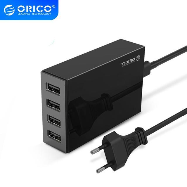 Настольное зарядное устройство ORICO с 4 USB портами, 5 В, 2,4 А, быстрая зарядка с европейской вилкой для Xiaomi, Samsung, Huawei