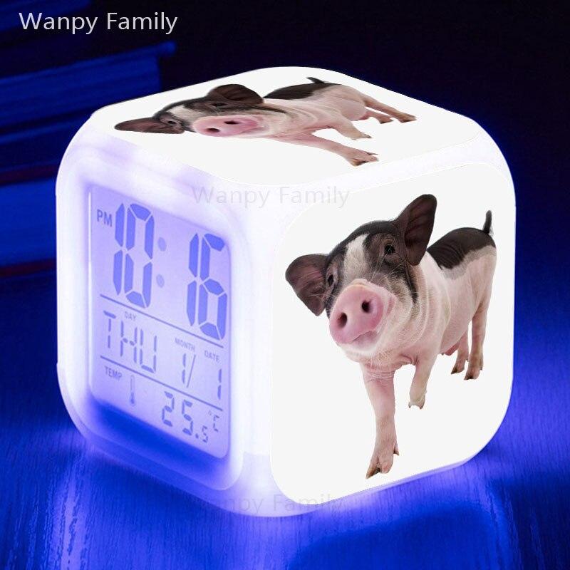 Vrlo lijepi svinjski budilici užarena LED promjena boje digitalni - Kućni dekor - Foto 3