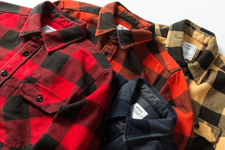 H2b1be47a2d124a33add1477b58e3d330N 100% cotton heavy weight retro vintage classic red black spring autumn winter long sleeve plaid shirt for men women