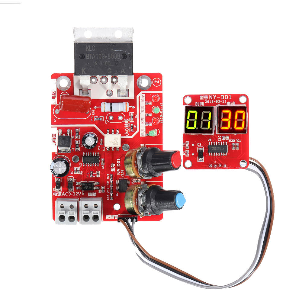 Taidacent NY-D01 DIY Spot Welder Controller Single Chip 40A Adjustable Spot Welding Time And Current Controller Digital Display