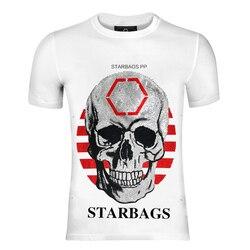 Starbags pp zähler begrenzte schädel hemd ursprünglichen einzigen hohe qualität baumwolle rundhals casual Diamant männer Kurzarm T-Shirt