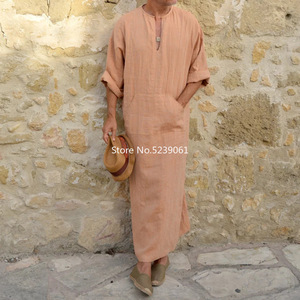 Image 4 - אסלאמי מסורתי Jubba Thobe גברים העבאיה פשתן מוסלמי גלימות דובאי ערבית קפטן בגדים Qamis Homme ערבי תורכי שמלת שמלת חיג אב