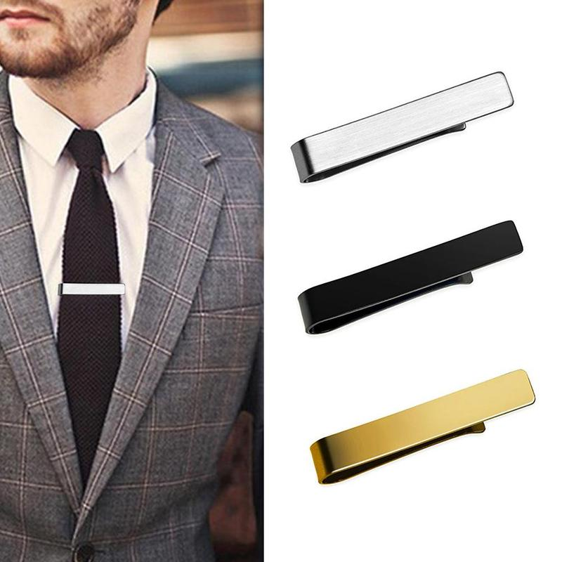 Luxury Mens Stainless Steel Tone Simple Necktie Tie Bar Clasp Clip Clamp Pin