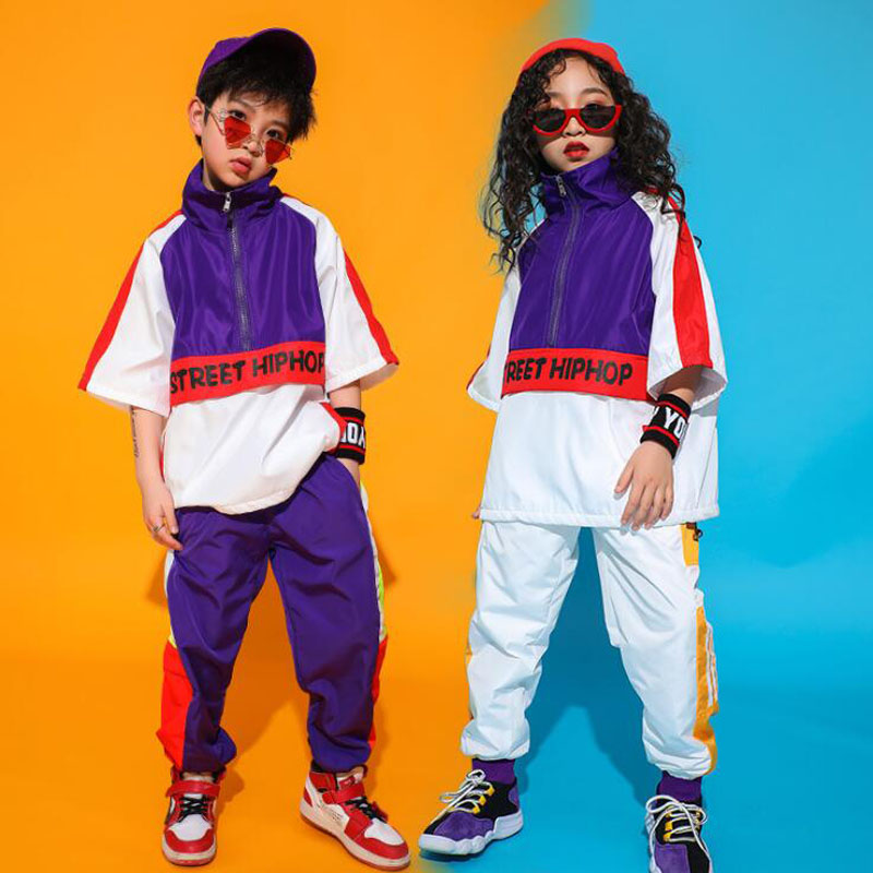 Child Hip Hop Clothing Loose Casual Pants Striped Oversized T Shirt Tops For Girls Boys Dance Costume Ballroom Dancing Clothes
