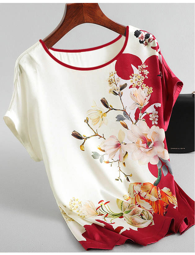 H2b1c4bb98ce24cf5923039fd989fda14F - Women Silk Satin Blouses Plus size Batwing sleeve Vintage Print Floral Blouse Ladies Casual Short sleeve Tops