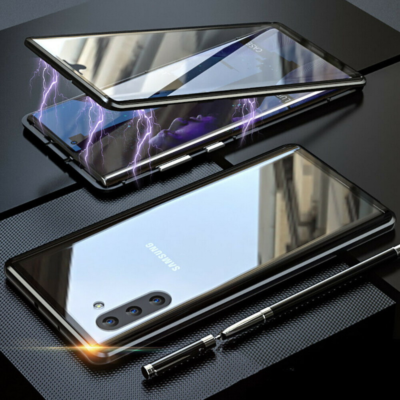 360 Metal Magnetic Phone <font><b>Case</b></font> For <font><b>Samsung</b></font> <font><b>Galaxy</b></font> S10 S9 S8 Note 10 9 8 Plus Pro A7 A9 2018 A50 <font><b>M20</b></font> M30 Tempered <font><b>Glass</b></font> USB Cable image
