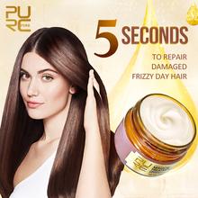 PURC magiczna maseczka do włosów 5 sekund naprawy kędzierzawe włosy miękka gładka głęboka odbudowa keratynowa terapia dla włosów do pielęgnacji włosów 60ml tanie tanio CN (pochodzenie) 60 ml Hair mask 1pcs Argan oil Leczenie włosów i skóry głowy Hair products Hair Treatment Repair hair
