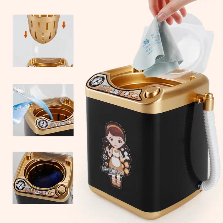 Mini Electric Makeup Brush Cleaner Washing Machine Dollhouse Toy Cosmetic Brush Powder Puff Washer Beauty Cleaning Makeup Tool