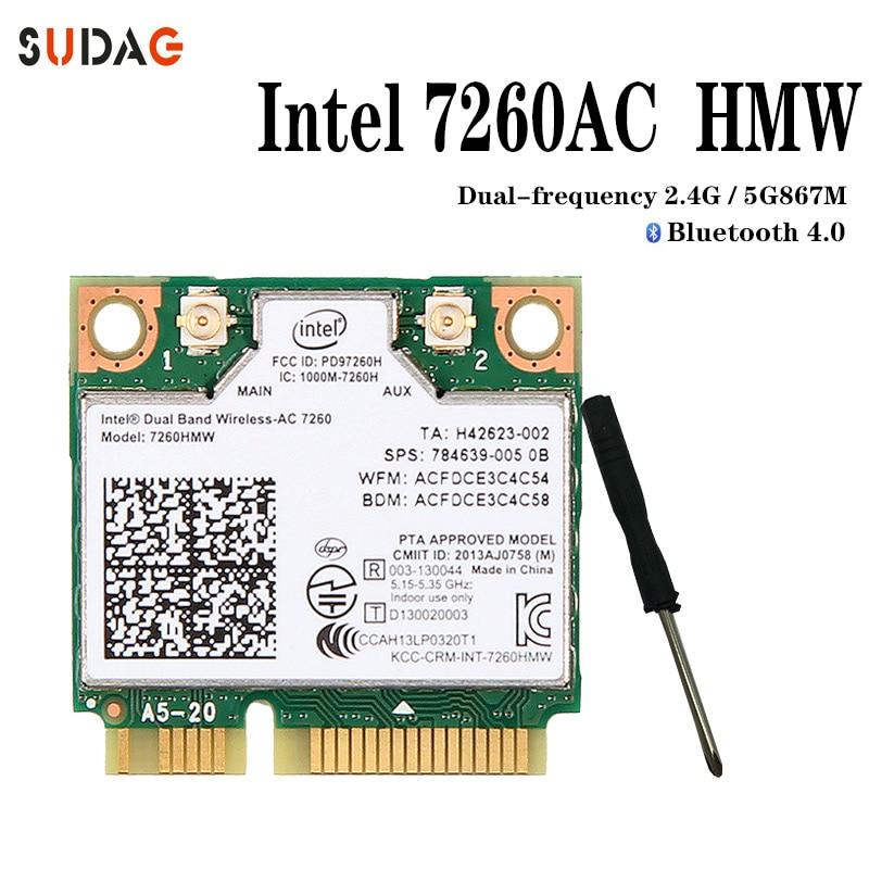 inalámbrica Intel 7260 Intel7260 7260AC 7260HMW 2,4 y 5G 867M BT4.0 MiniPCIe WiFi