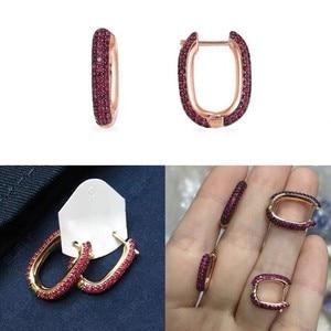 Image 2 - SLJELY boucles doreilles rectangulaires pour femmes, couleur or Rose 925, bordeaux rouge, Zircon, bijou fin, à la mode