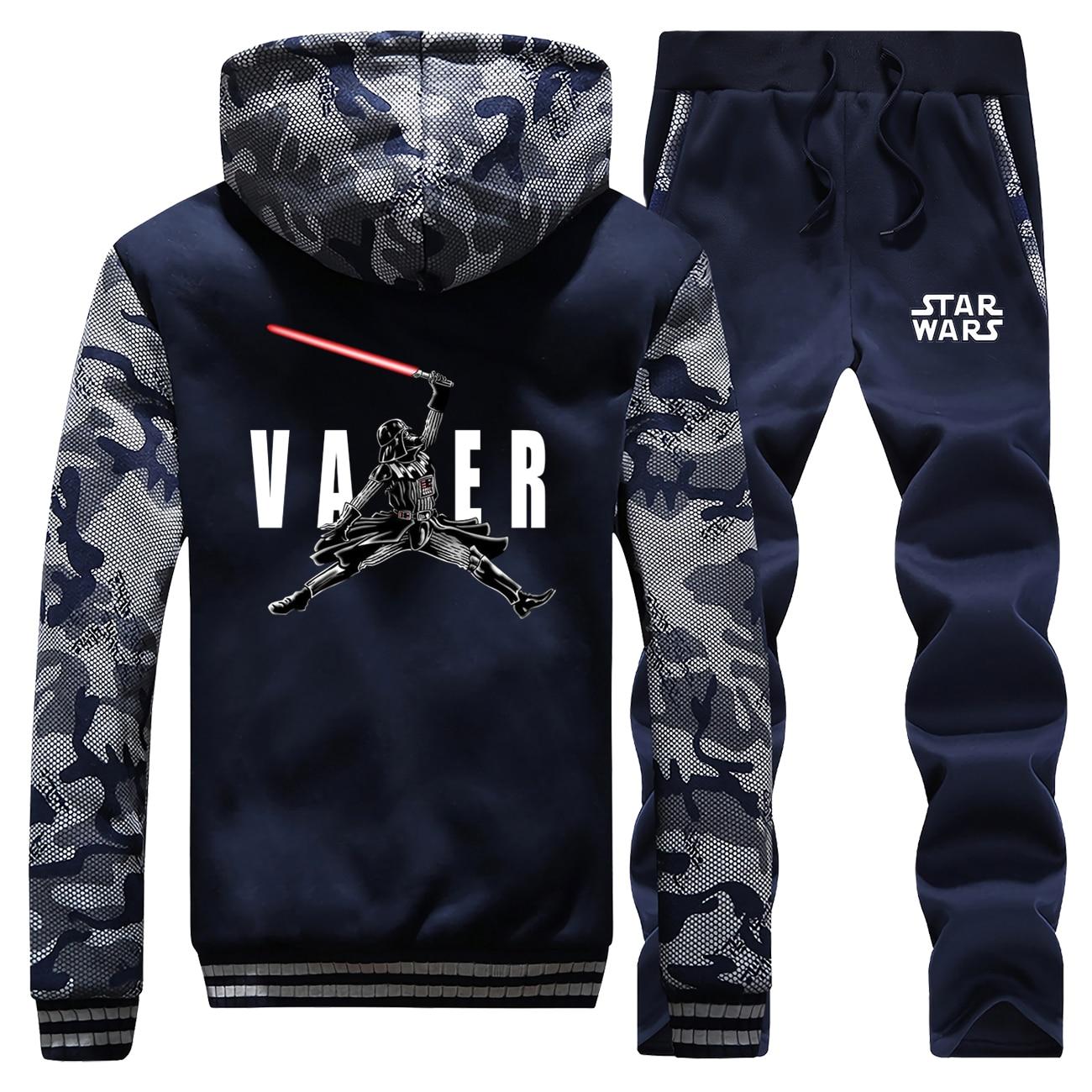 2019 Winter Men Coat Thick Hoody Darth Vader Star Wars Cartoon Hoodies Suit Sportswear Camouflage Warm Jacket+2 Piece Set Pants