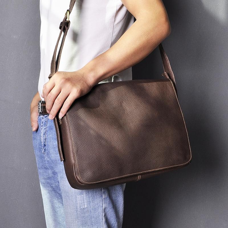 """Real Leather Male Design Casual Shoulder Bag Messenger Bag Fashion Crossbody Bag 13"""" Laptop Satchel University Book Bag 3164-db"""