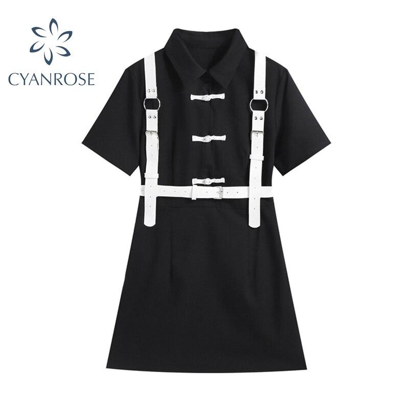 Женское винтажное платье в стиле Харадзюку, черное однобортное платье в готическом стиле с коротким рукавом, модель 2021 на лето