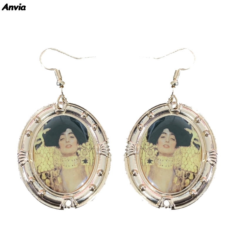 Ladies Earrings Alloy Hollow Portrait Pendant Drop Dangle Ear Studs Jewelry 6A