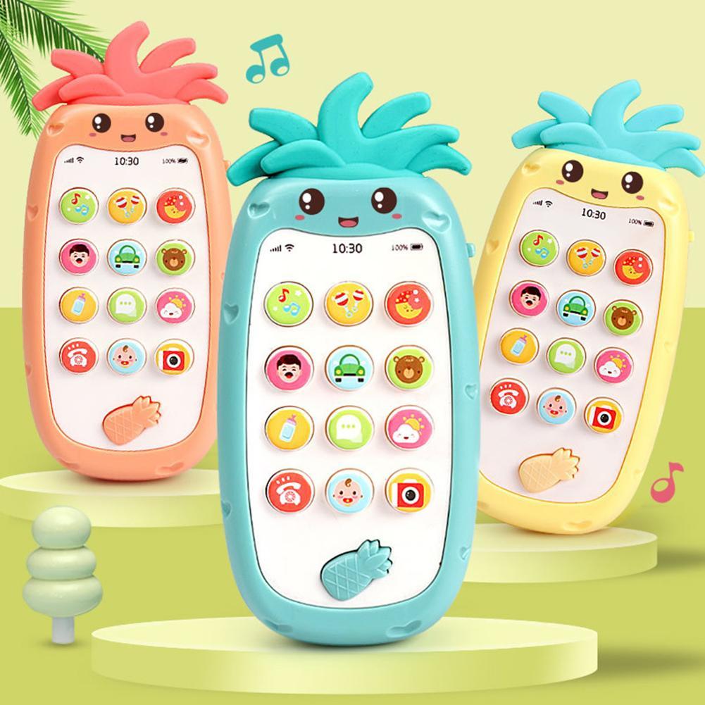 Pineapple Shape Simulated Mobile Phone Bilingual Musical LED Kids Education Toy Intelligence Developmental Toys Gift For Kids