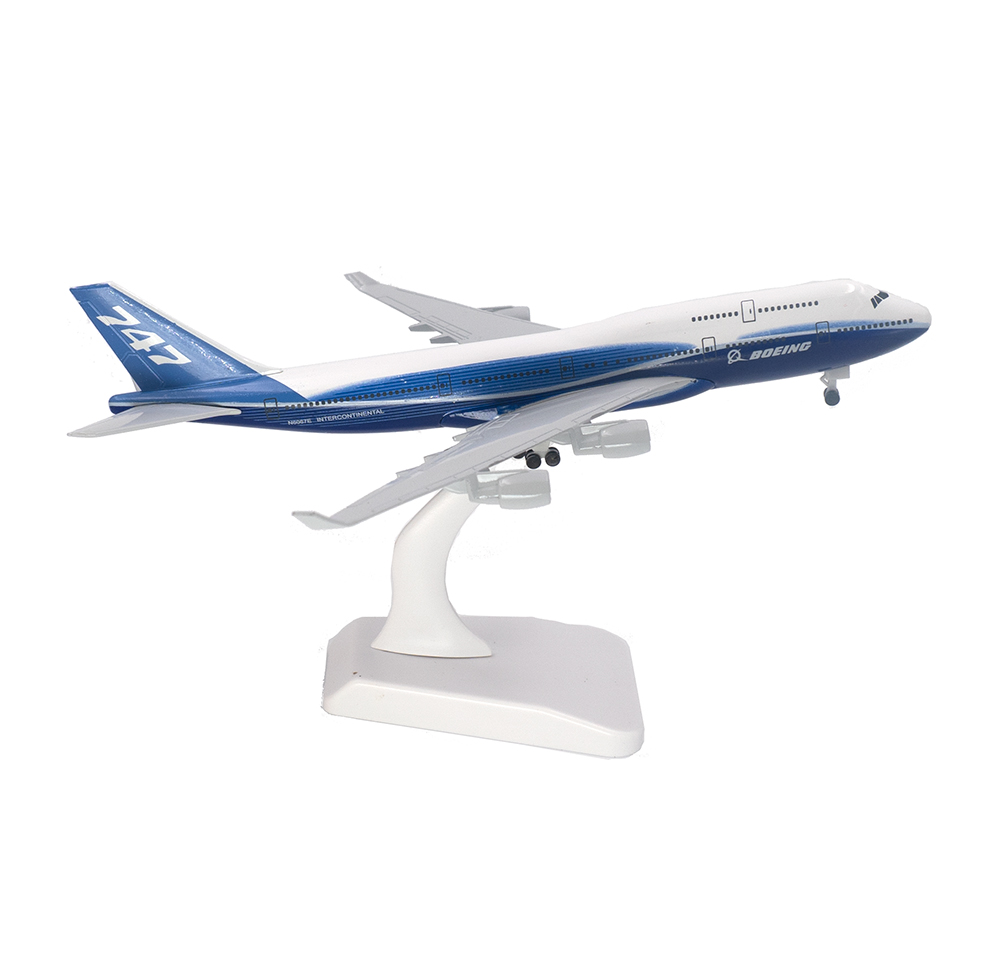 20cm Aircraft Boeing 747 Prototype Alloy Plane With Wheel B747 Model Toys Children Kids Gift For Collection