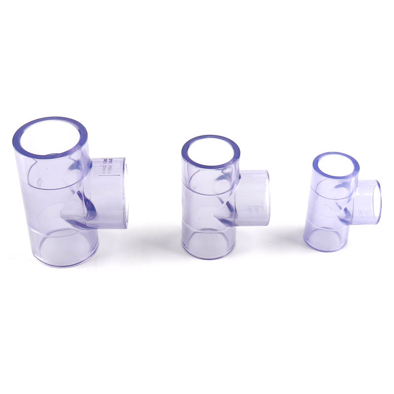 5pcs PVC Transparent Tee Connector Inner Dia 20/25/32mm Blue PVC Joints for Garden Water Pipe High Quality UPVC Fittings image