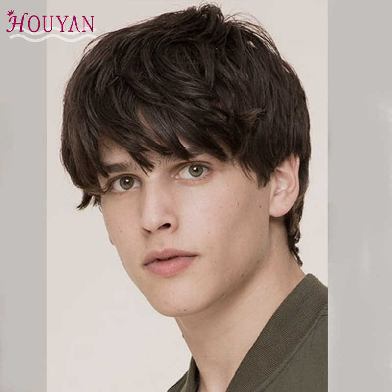 HOUUYAN Special offer Synthetic black short men's breathable wig straight hair 100% natural realistic natural heat-resistant wig