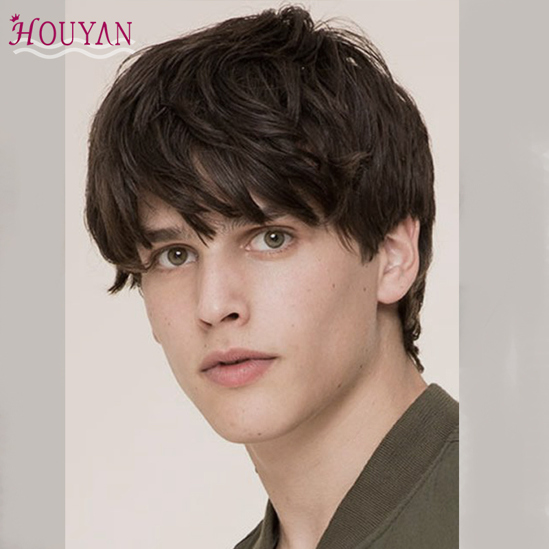HOUUYAN Special Offer Synthetic Dark Brown Black Short Men's Breathable Wig Straight Hair 100% Natural Realistic Natural  Wig