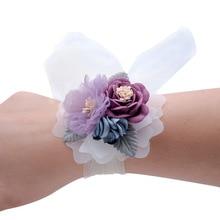 Запястье корсаж свадьба подружки невесты браслеты браслеты искусственный цветы танцы вечеринка декор свадебный выпускной свадьба аксессуары