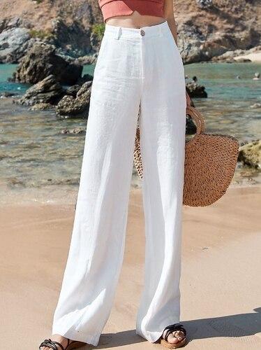 Yuansu Style 2020 Women's Summer Fashion Solid High Waist Pants Casual Loose Linen Wide Leg Pants Pants Pants