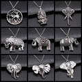 Thai Elefanten Anhänger Halskette Mode Vintage Antike Silber Farbe Großen Elefanten Halskette Lange Kette Metall Kette Halskette
